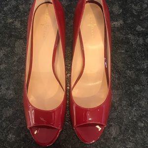 Cole Haan Nike Air Red peep-toe pumps